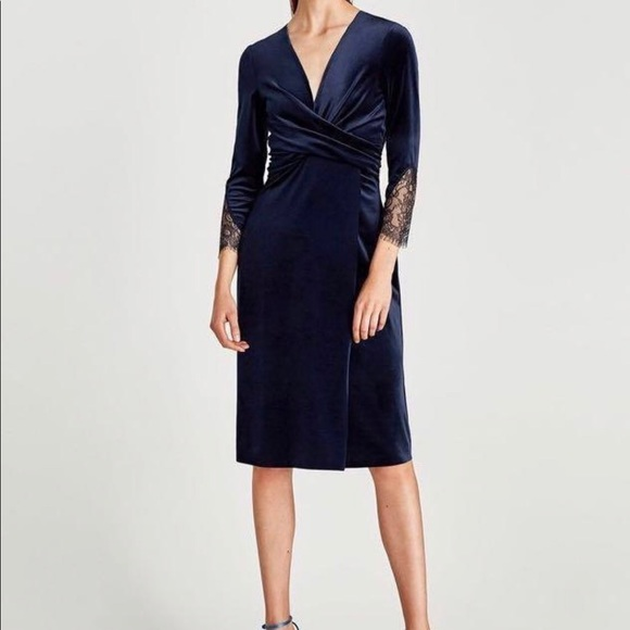 Zara Midnight Blue crossover wrap lace dress Sz L